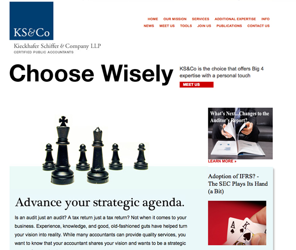 KS&Co. Accounting website redesign to position their consulting capabilities.
