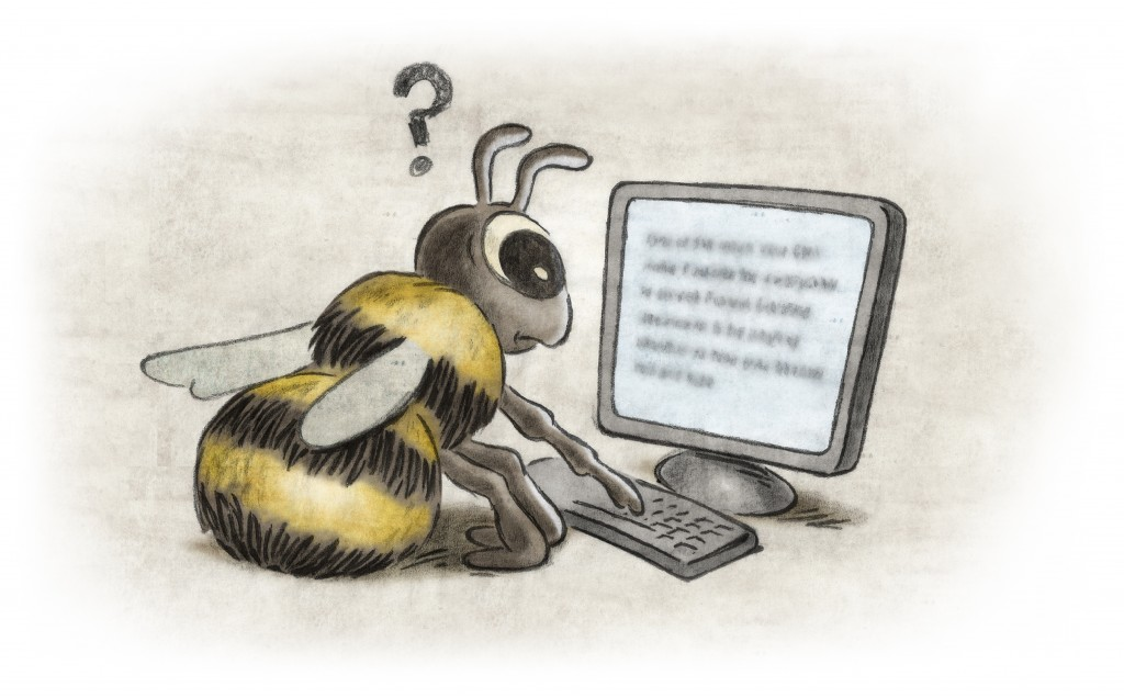 A bee having trouble reading a monitor